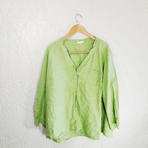 Eileen Fisher Linen Long Sleeve Button Down Top 2X